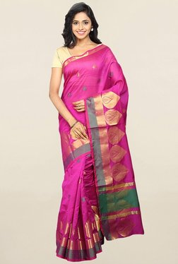 Pavecha's Pink Cotton Silk Banarasi Saree With Blouse - Mp000000001783917