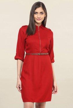 109 F Red Regular Fit Knee Length Dress - Mp000000001784875
