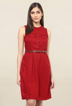 109 F Red Regular Fit Knee Length Dress