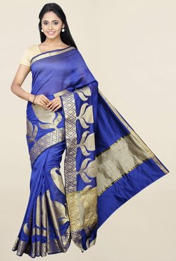 Pavecha's Navy Printed Cotton Silk Saree With Blouse