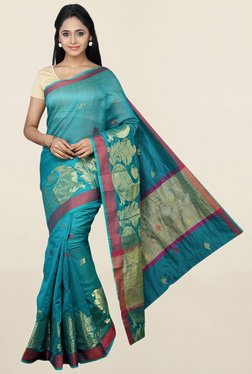 Pavecha's Teal Printed Cotton Silk Saree With Blouse