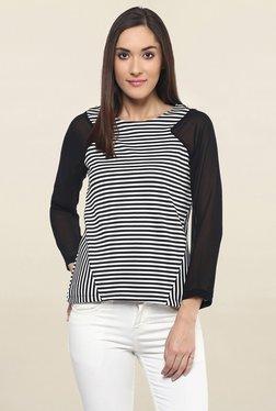 109 F Black & White Striped Top