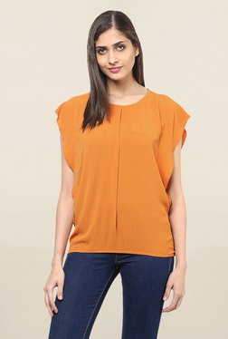 109 F Orange Round Neck Top