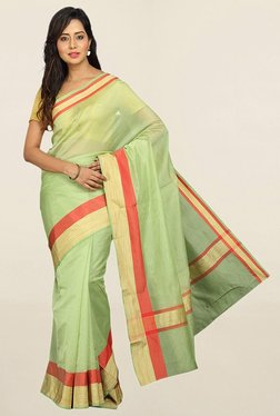 Pavecha's Green Cotton Silk Saree With Blouse - Mp000000001784143