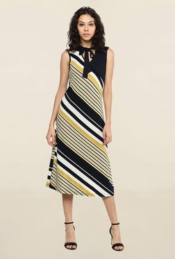 109 F Multicolor Striped Midi Dress