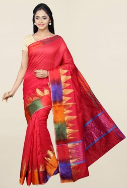 Pavecha's Red Printed Cotton Silk Saree With Blouse - Mp000000001784151