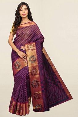 Pavecha's Blue & Purple Cotton Silk Mangalagiri Saree With Blouse