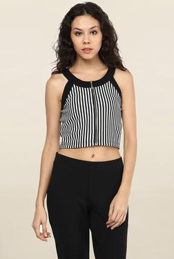 109 F Black & White Striped Crop Top