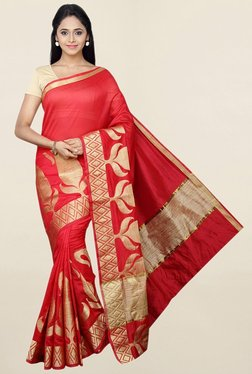 Pavecha's Red Printed Cotton Silk Saree With Blouse