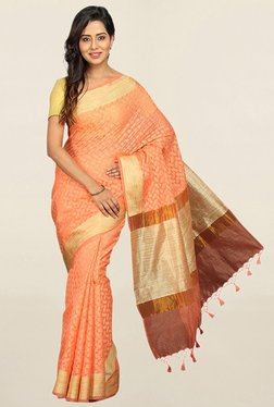 Pavecha's Orange Printed Cotton Silk Saree With Blouse