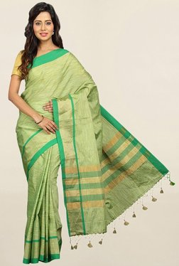 Pavecha's Green Textured Cotton Silk Saree With Blouse