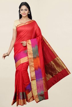 Pavecha's Red Cotton Silk Saree With Blouse