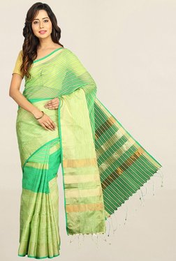 Pavecha's Green Striped Cotton Silk Saree With Blouse