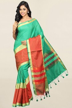 Pavecha's Green Striped Cotton Silk Saree With Blouse - Mp000000001784448