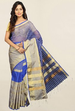 Pavecha's Blue Striped Cotton Silk Saree With Blouse