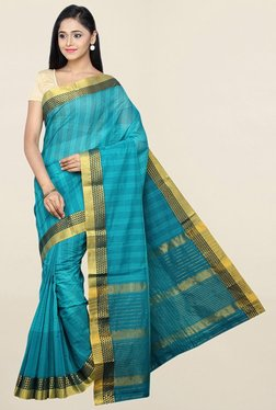 Pavecha's Blue Checks Cotton Saree With Blouse