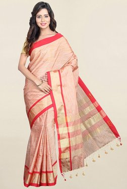 Pavecha's Red Textured Cotton Silk Saree With Blouse