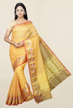 Pavecha's Yellow Cotton Silk Kota Doria Saree With Blouse