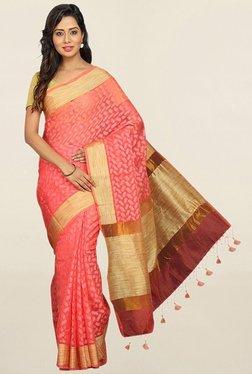 Pavecha's Pink Cotton Silk Kota Doria Saree With Blouse