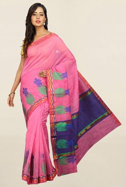 Pavecha's Pink Cotton Silk Banarasi Saree With Blouse - Mp000000001784890