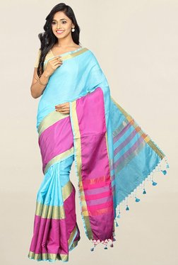Pavecha's Blue & Pink Cotton Silk Banarasi Saree With Blouse