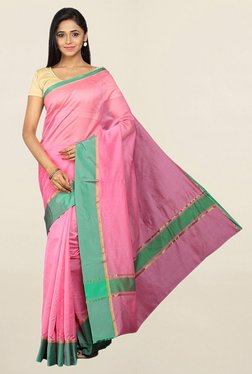 Pavecha's Pink Cotton Silk Banarasi Saree With Blouse - Mp000000001784959