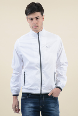 Pepe Jeans White Full Sleeves Regular Fit Jacket