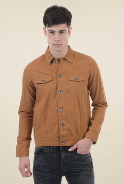 Pepe Jeans Brown Regular Fit Cotton Jacket