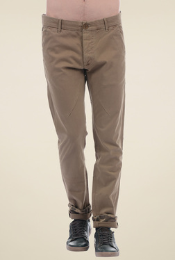 Pepe Jeans Beige Slim Fit Cotton Chinos