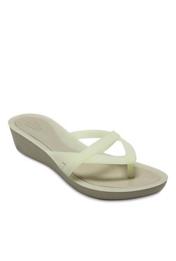 ca86fc577ae5 Crocs Isabella Oyster   Cobblestone Wedge Heeled Flip Flops
