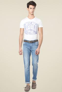 People Light Blue Slim Fit Mid Rise Jeans