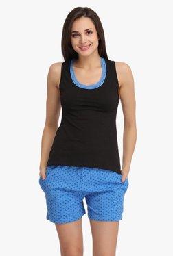 Clovia Black & Blue Cotton Shorts Set