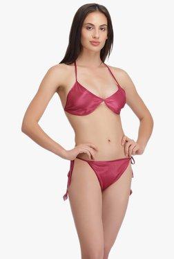 Clovia Maroon Plunge Bra & Bikini Set