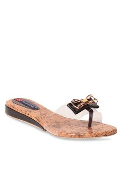 Lishabee By MSC Black & Rose Gold Toe Ring Sandals