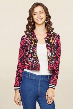 Global Desi Black Printed Jacket - Mp000000001792647