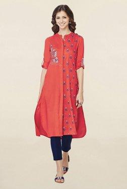 Global Desi Red Printed Kurta