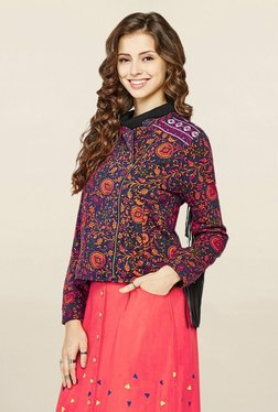 Global Desi Navy Printed Jacket - Mp000000001794719