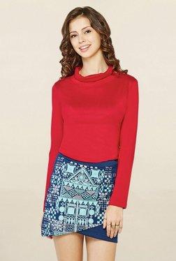 Global Desi Red Full Sleeves Top
