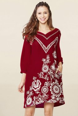 Global Desi Dark Red Floral Print Tunic