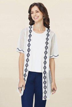 Global Desi White Lace Long Shrug