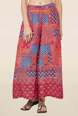 Global Desi Red Relaxed Fit Palazzo