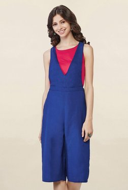 Global Desi Blue Round Neck Jumpsuit
