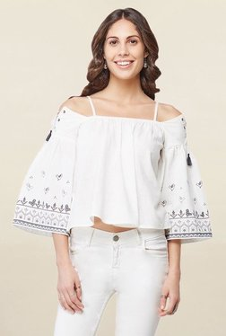 Global Desi White Printed Cold Shoulder Top