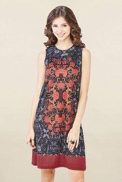 Global Desi Black Floral Print Dress