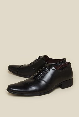 Zudio Black Lace-Up Derby Shoes