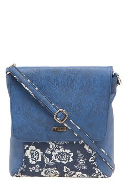 Esbeda Blue & White Printed Sling Bag