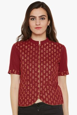 9rasa Maroon Printed Cotton Crop Top