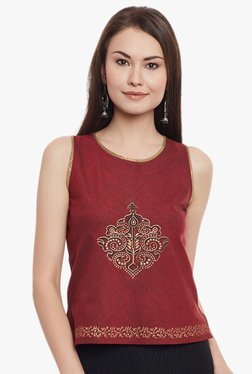 9rasa Maroon Printed Cotton Mangalgiri Top