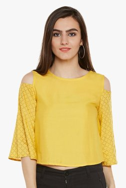 9rasa Yellow Round Neck Cotton Viscose Crop Top