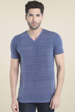 Killer Blue Striped Slim Fit Cotton T-Shirt